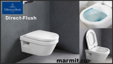 Wc suspendat Omnia Arhitectura rotund Direct Flush, cu capac soft-close